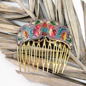 Hair Comb Vintage Floral Antique Gold Tone